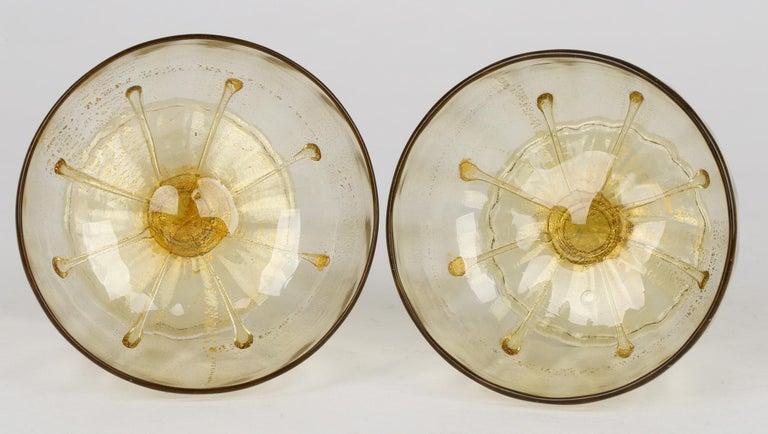 Antonio Salviati Pair Venetian Revival Art Glass Dessert Bowls and Stands For Sale 12