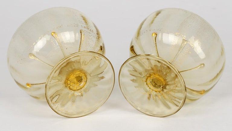 Italian Antonio Salviati Pair Venetian Revival Art Glass Dessert Bowls and Stands For Sale
