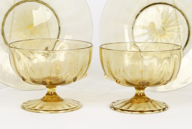 Hand-Crafted Antonio Salviati Pair Venetian Revival Art Glass Dessert Bowls and Stands For Sale