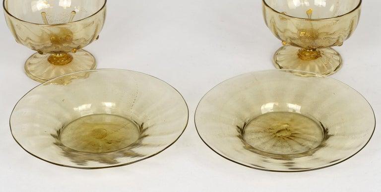 20th Century Antonio Salviati Pair Venetian Revival Art Glass Dessert Bowls and Stands For Sale