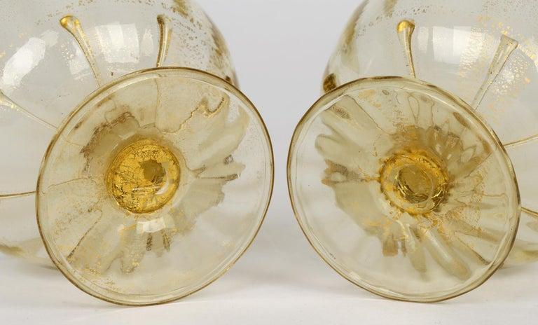 Blown Glass Antonio Salviati Pair Venetian Revival Art Glass Dessert Bowls and Stands For Sale