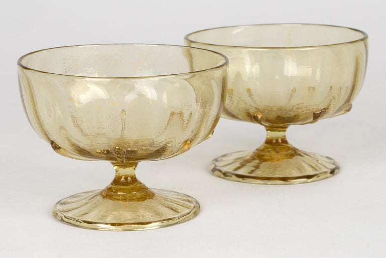 Antonio Salviati Pair Venetian Revival Art Glass Dessert Bowls and Stands For Sale 1