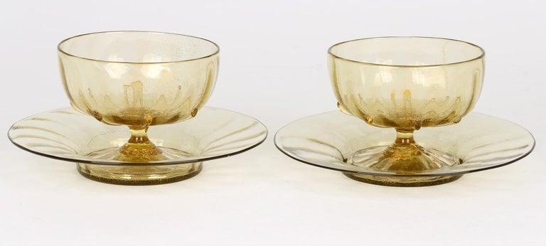 Antonio Salviati Pair Venetian Revival Art Glass Dessert Bowls and Stands For Sale 2