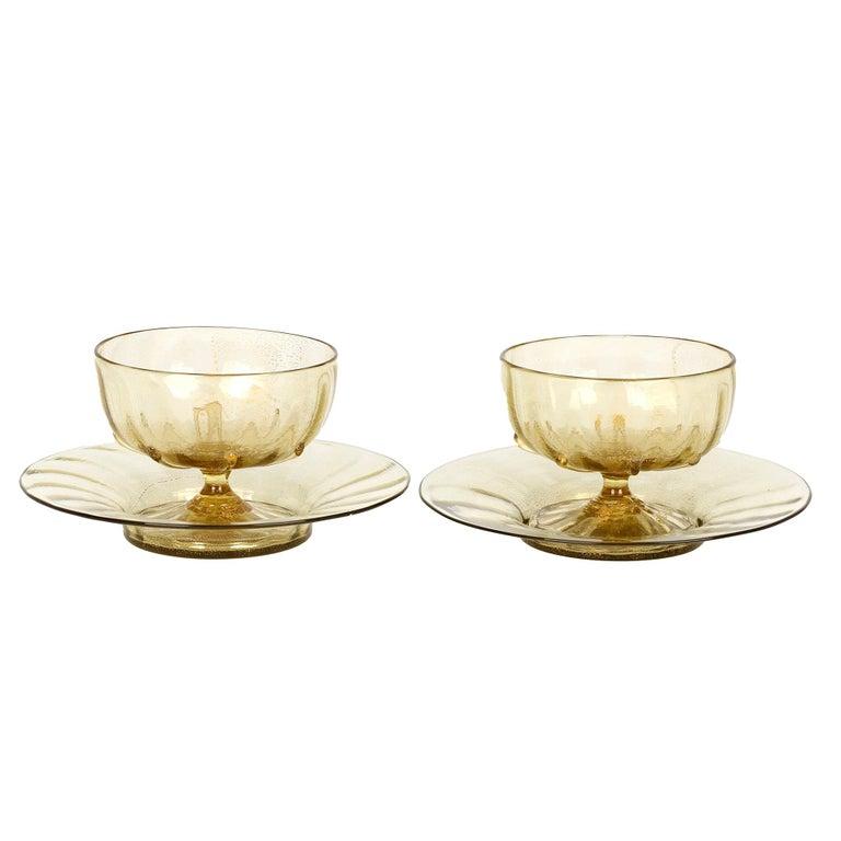 Antonio Salviati Pair Venetian Revival Art Glass Dessert Bowls and Stands For Sale
