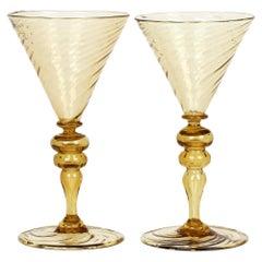 Antonio Salviati Pair Venetian Revival Yellow Glass Spiral Twist Wine Glasses