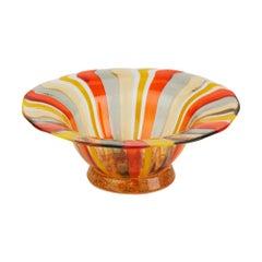 Antonio Salviati Venetian Murano Harlequin Art Glass Dish, circa 1950
