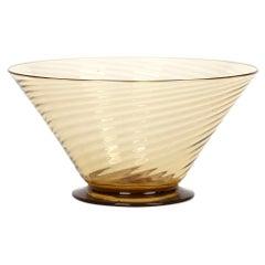 Antonio Salviati Venetian Revival Brown Spiral Twist Art Glass Dessert Bowl