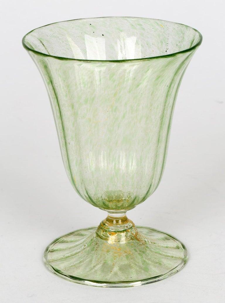 Antonio Salviati Venetian Revival Green and Aventurine Sundae or Ice Cream Glass For Sale 3