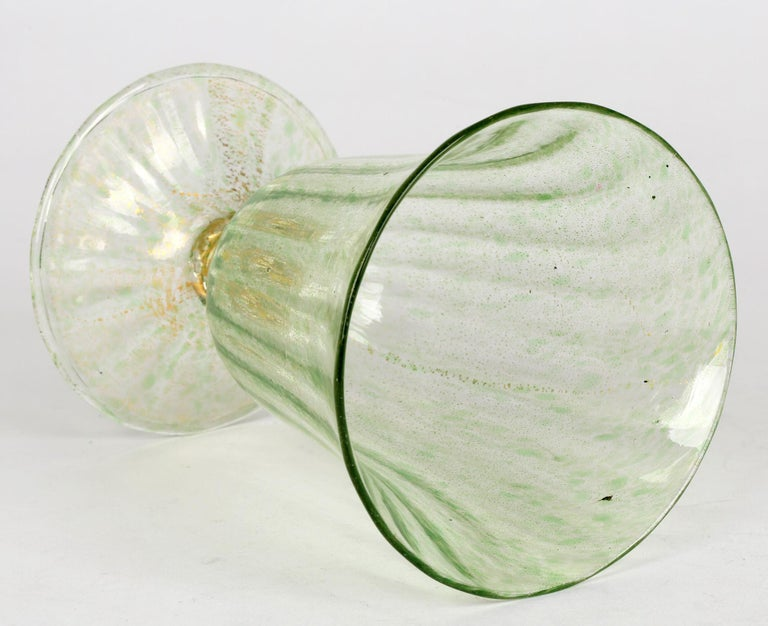 Antonio Salviati Venetian Revival Green and Aventurine Sundae or Ice Cream Glass For Sale 5