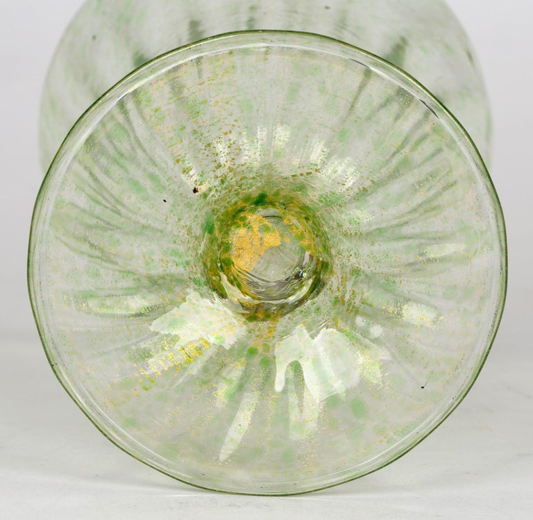 Blown Glass Antonio Salviati Venetian Revival Green and Aventurine Sundae or Ice Cream Glass For Sale