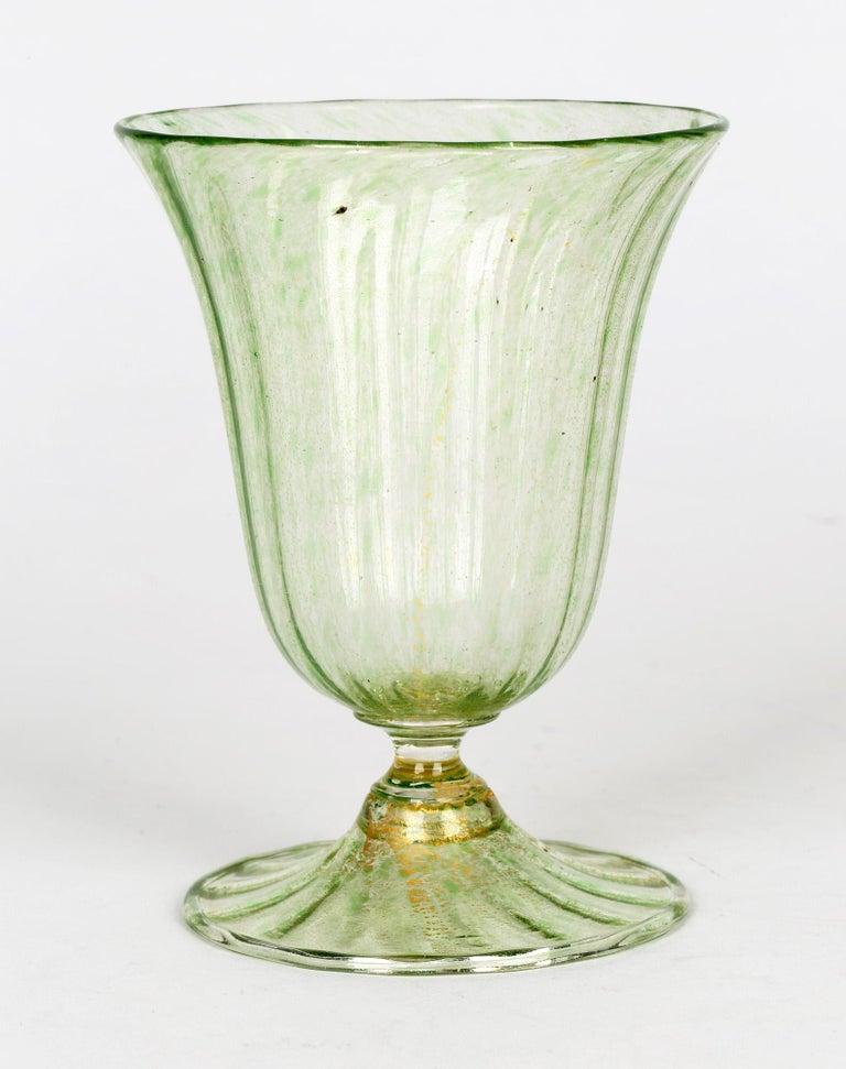 Antonio Salviati Venetian Revival Green and Aventurine Sundae or Ice Cream Glass For Sale 1