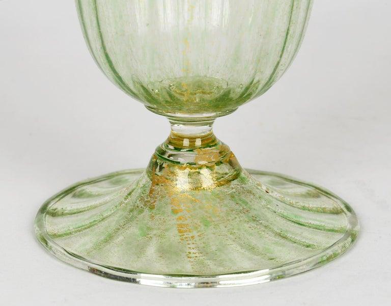 Antonio Salviati Venetian Revival Green and Aventurine Sundae or Ice Cream Glass For Sale 2