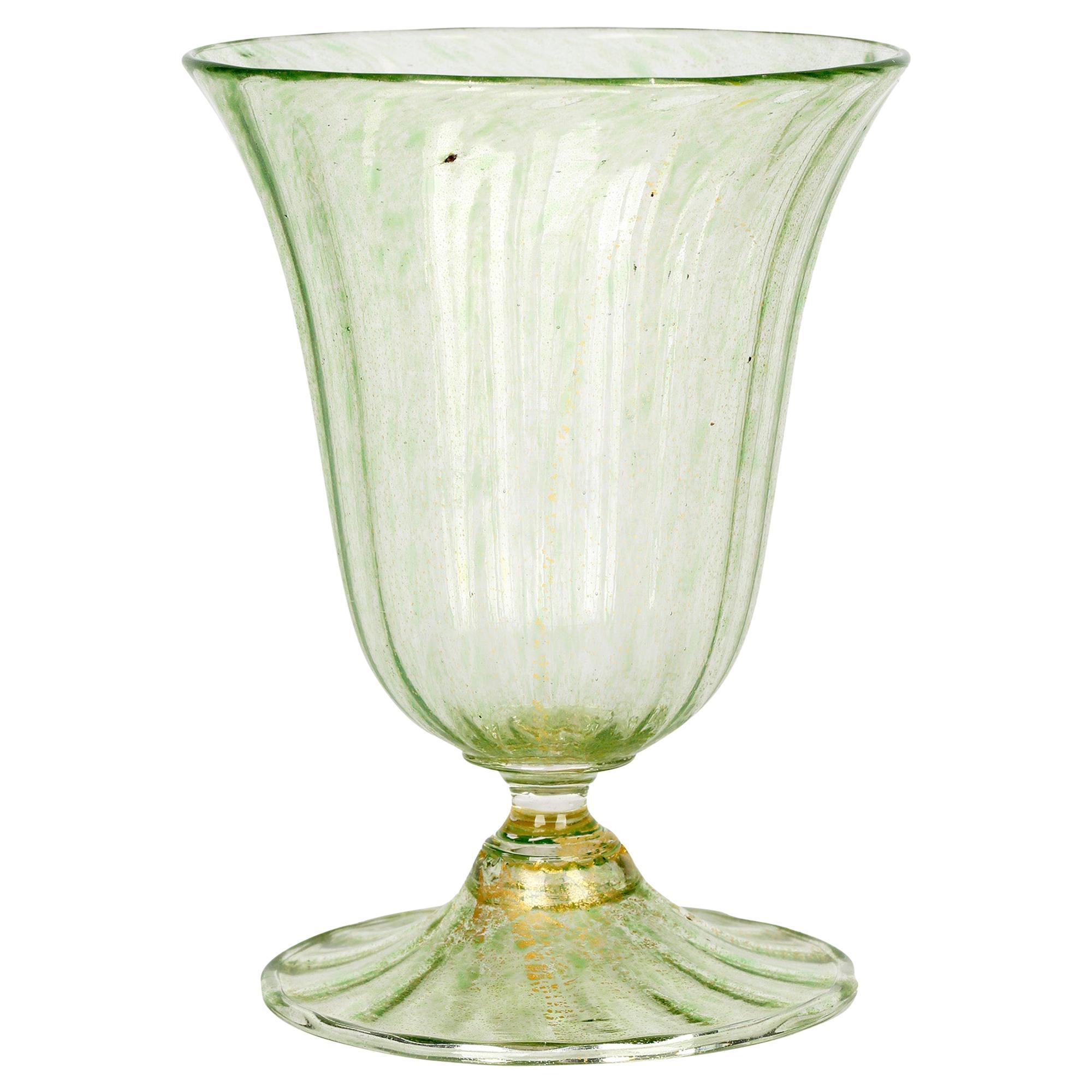 Antonio Salviati Venetian Revival Green and Aventurine Sundae or Ice Cream Glass