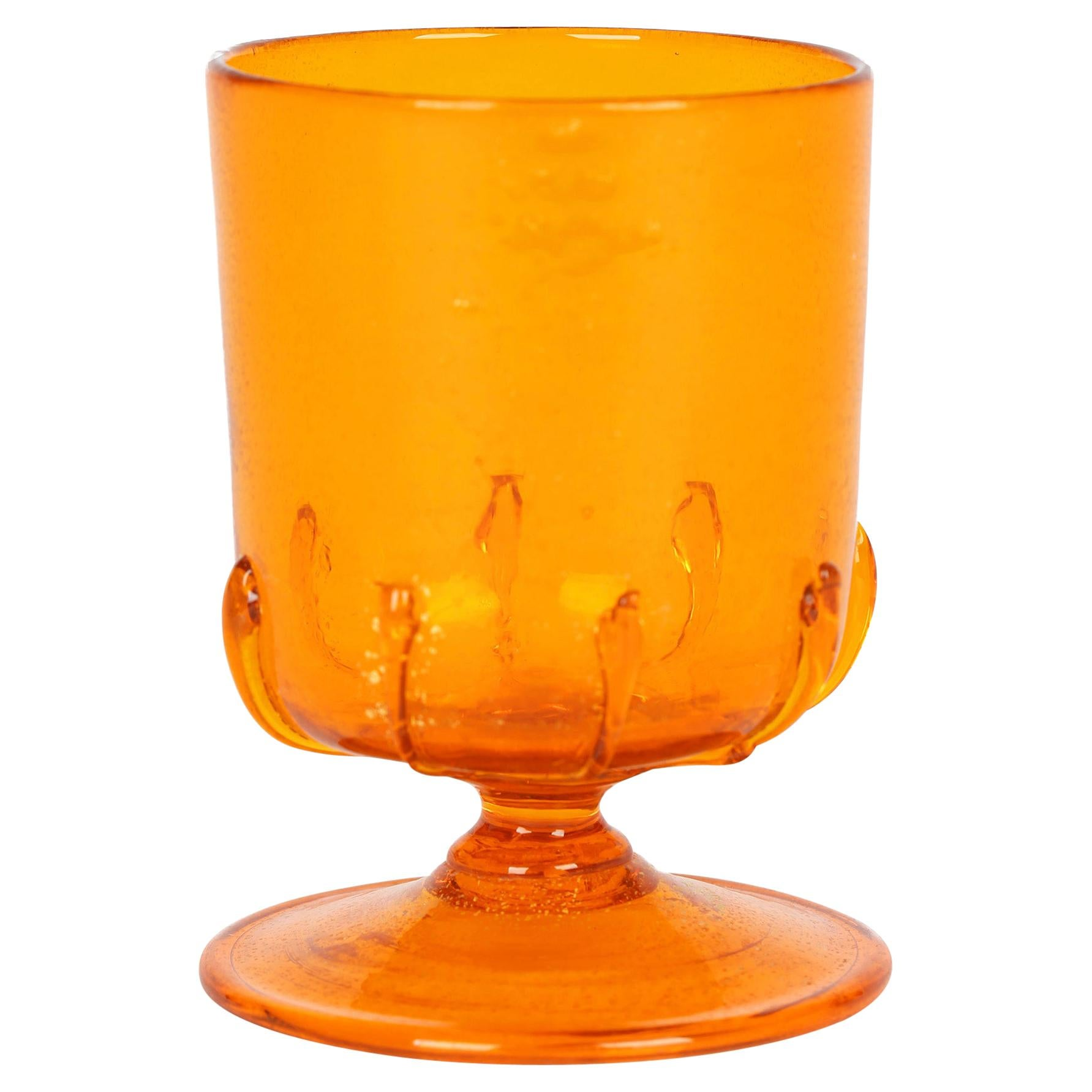 Antonio Salviati Venetian Revival Orange Wine Glass with Aventurine