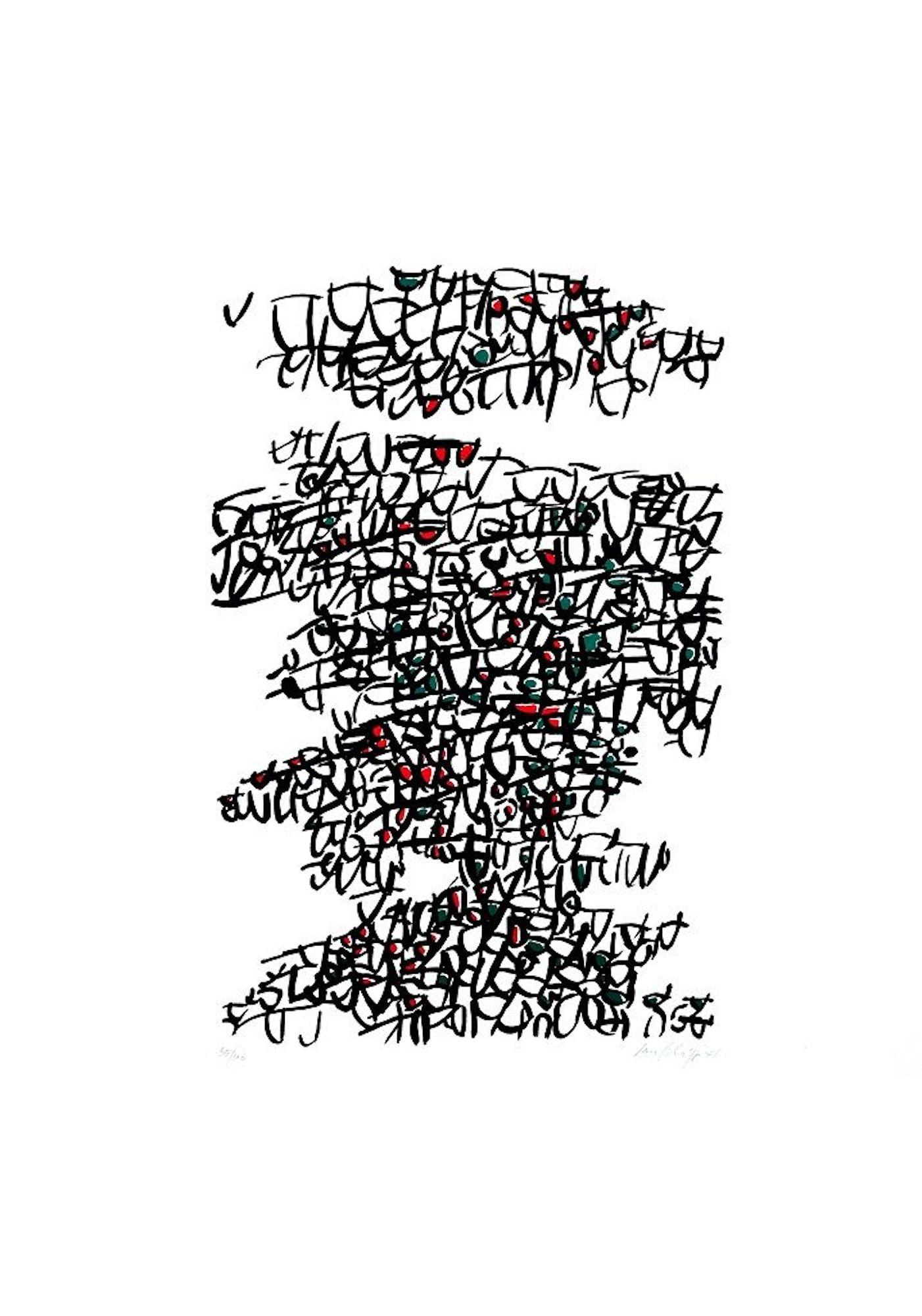 Abstract Composition - Original Lithograph by Antonio Sanfilippo - 1971