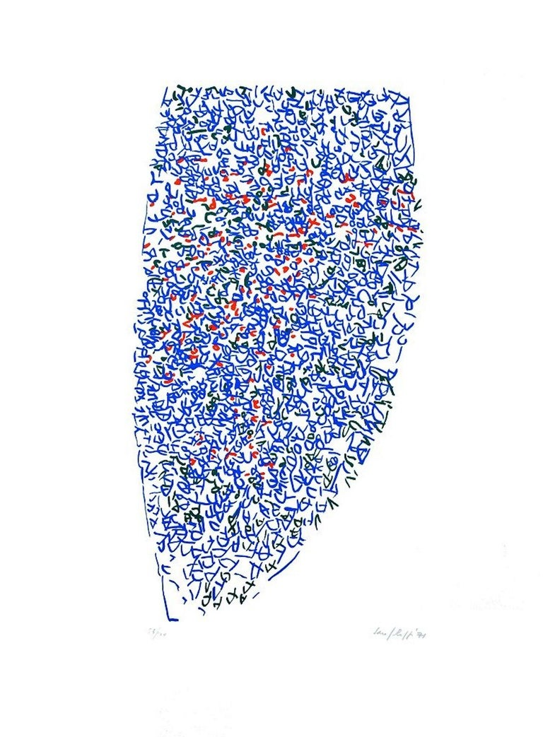 Abstract In Blue is an original colored artwork realized by Antonio Sanfilippo in 1971.  Colored lithograph on paper. Edited by La Nuova Foglio, Macerata.  Hand-signed and dated in pencil on the lower left. Numbered on the lower right. Edition