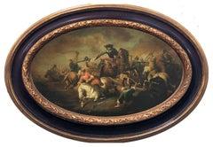 CAVALRY BATTLE- Neapolitan School Italian Figurative Oil on canvas Oval Painting