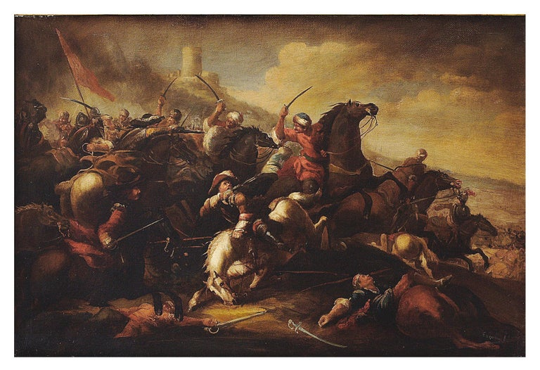 CAVALRY BATTLE - Antonio Savisio Italian figurative oil on canvas painting - Old Masters Painting by Antonio Savisio