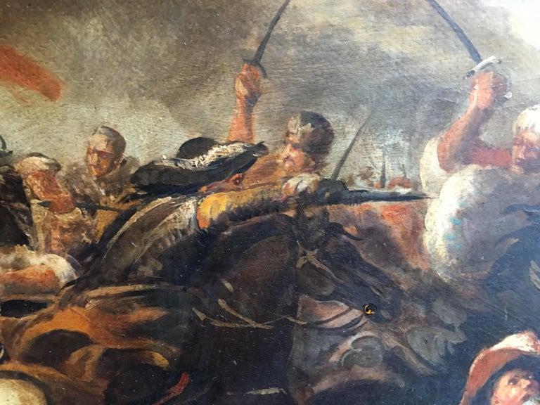 CAVALRY BATTLE - Antonio Savisio Italian figurative oil on canvas painting For Sale 1