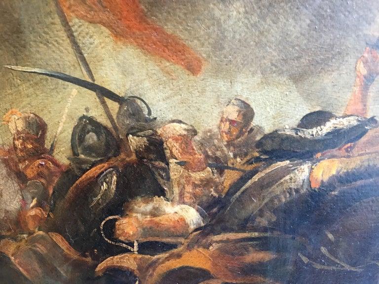 CAVALRY BATTLE - Antonio Savisio Italian figurative oil on canvas painting For Sale 2