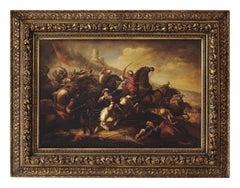 CAVALRY BATTLE - Antonio Savisio Italian figurative oil on canvas painting