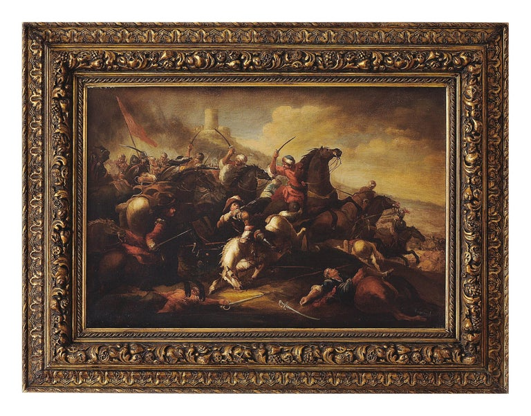 CAVALRY BATTLE - Antonio Savisio Italian figurative oil on canvas painting - Painting by Antonio Savisio