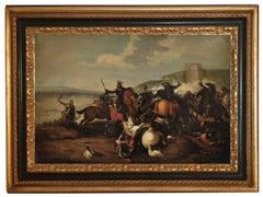 Cavalry Battle -Antonio Savisio  Oil on Canvas Italian Figurative Painting