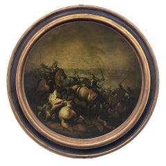 CAVALRY BATTLE - Italian figurative oil on canvas round painting, A. Savisio