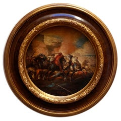 CAVALRY BATTLE - Italian figurative oil on canvas round painting, A. Savisio