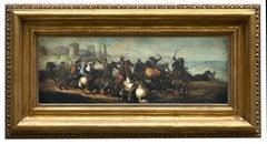 CAVALRY BATTLE - Savisio Italian figurative oil on canvas  painting