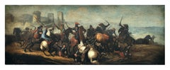 CAVALRY BATTLE - Savisio Italian figurative oil on canvas  painting