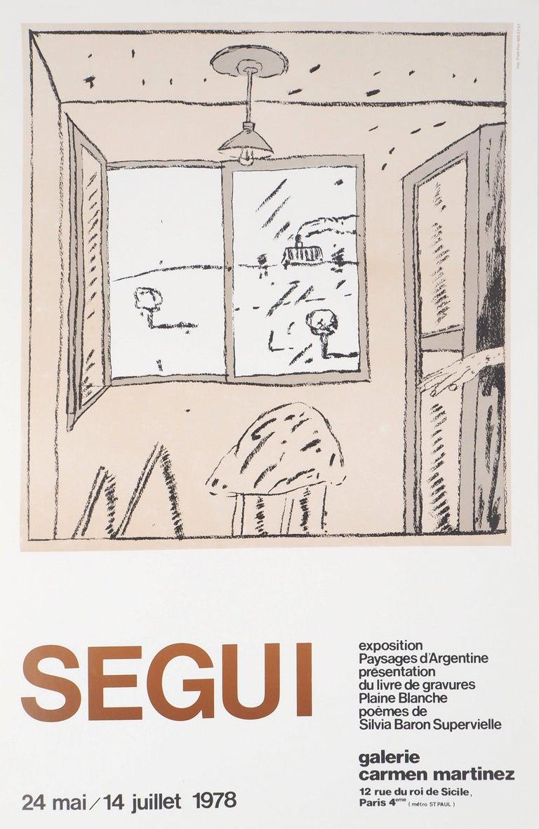 Antonio Seguí Figurative Print - Argentina : From my Window - Vintage exibition poster (Carmen Martinez Gallery)