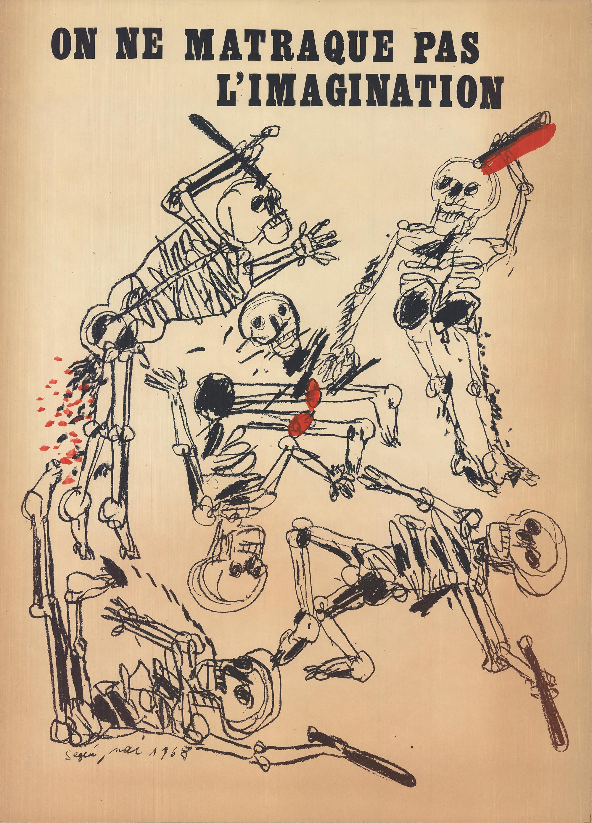 1968 After Antonio Segui 'On Ne Matraque Pas L'Imagination' Mixed Media