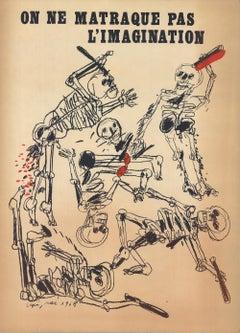 1968 Antonio Segui 'On Ne Matraque Pas L'Imagination' Modernism Mixed Media