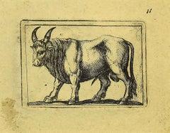 Bull - Original Etching by Antonio Tempesta - 1610s