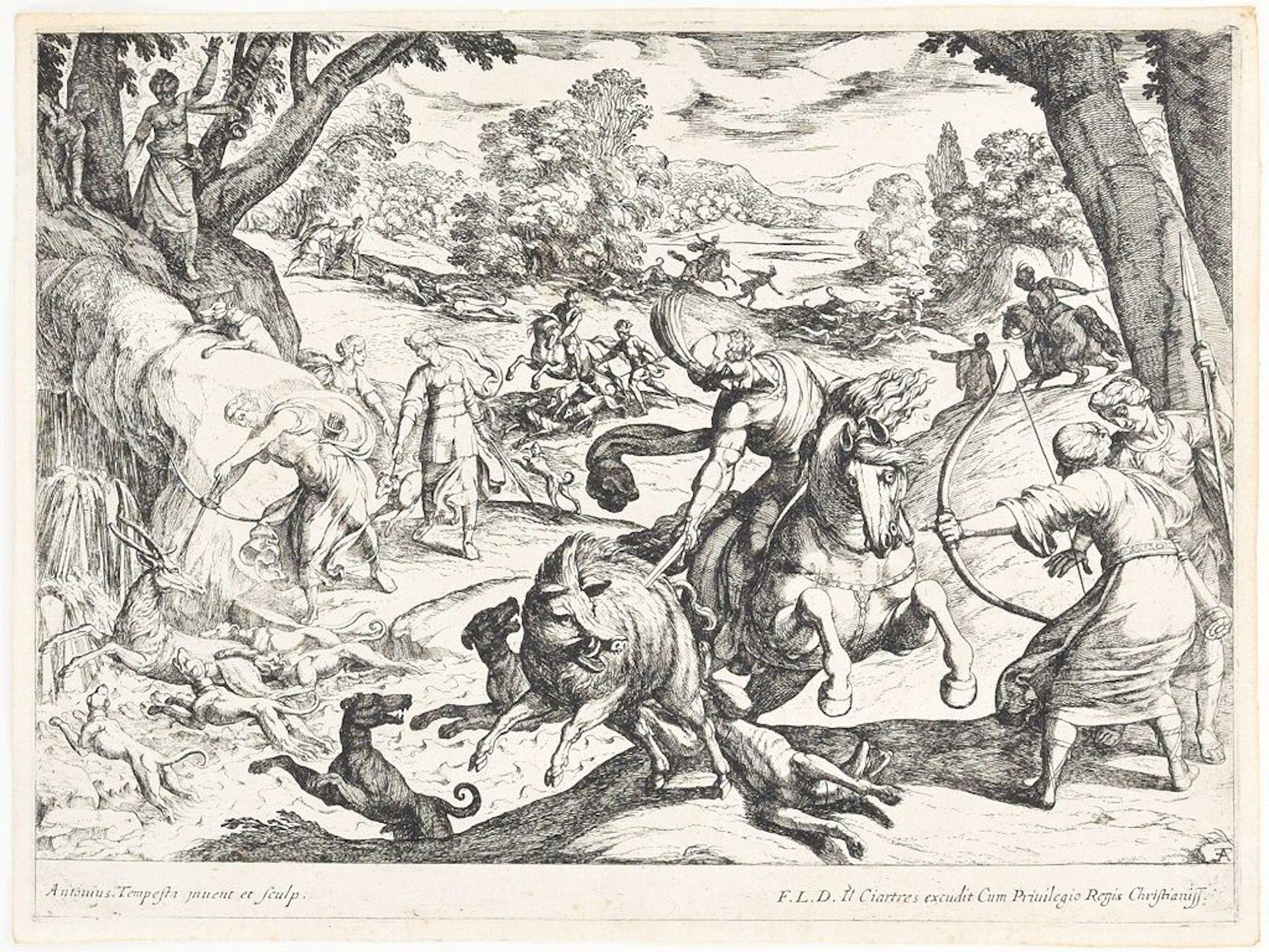 Hunting Scene - Original Etching by Antonio Tempesta - Early 17th Century