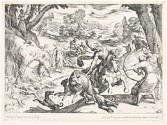 Hunting Scene - Original Etching by Antonio Tempesta - Early 17th Century