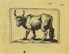 Ox - Original Etching by Antonio Tempesta - 1610s