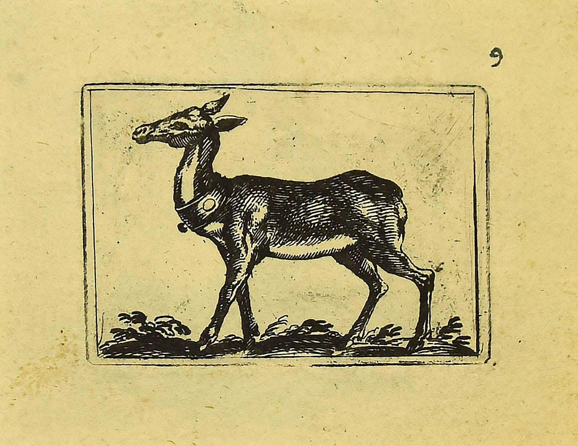 The Fawn - Original Etching by Antonio Tempesta - 1610s