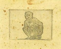 The Monkey - Original Etching by Antonio Tempesta - 1610s