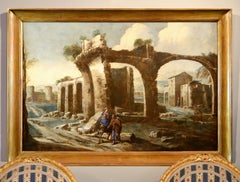 Landscape Paint Oil on canvas Italy 17th Century Quality Old master Holy family