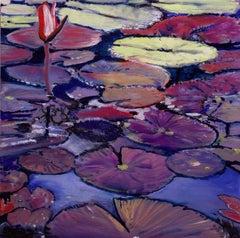 Alexandria Pond- Purples and Yellow 36 X 36