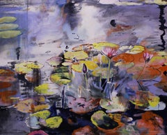 Sewing Waterlilies- in Purple Hues 69 X 87