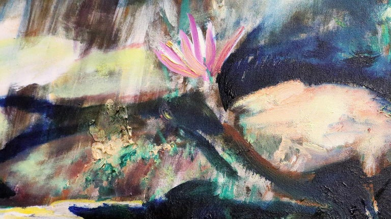 Two Water Lilies - Painting by Antonio Ugarte