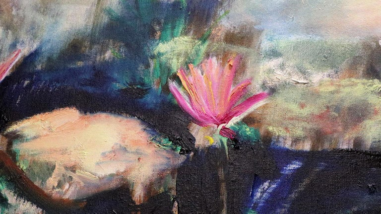 Two Water Lilies - Brown Landscape Painting by Antonio Ugarte
