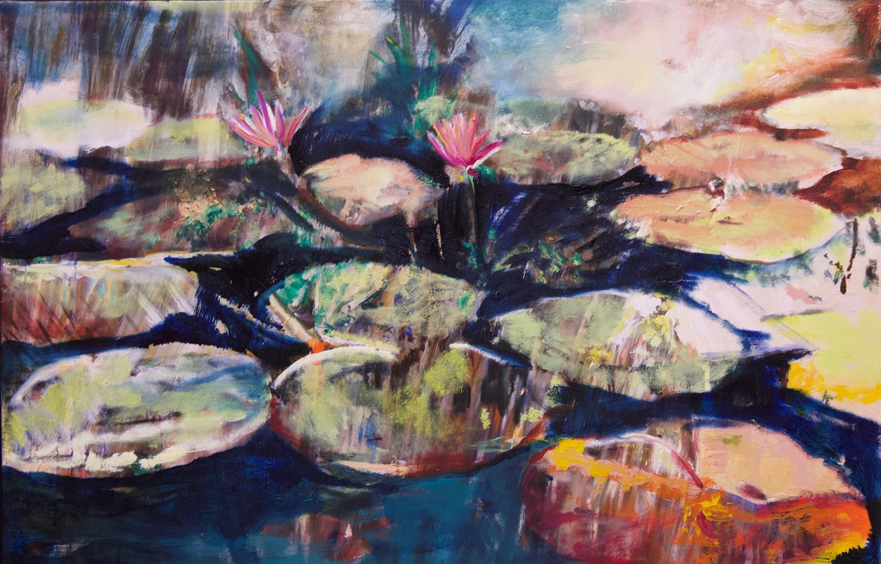 Two Water Lilies 38 X 60