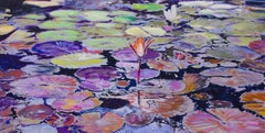 Water Lily in Pond- Purple and Green 39 X 79