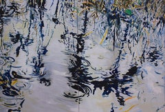Water Relections-Diptych 40 X 60 Blues on Metallic