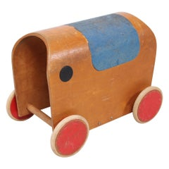 Antonio Vitali & Kurt Naef Modernist Swiss Handmade Wood Toy Elephant Car, 1950s