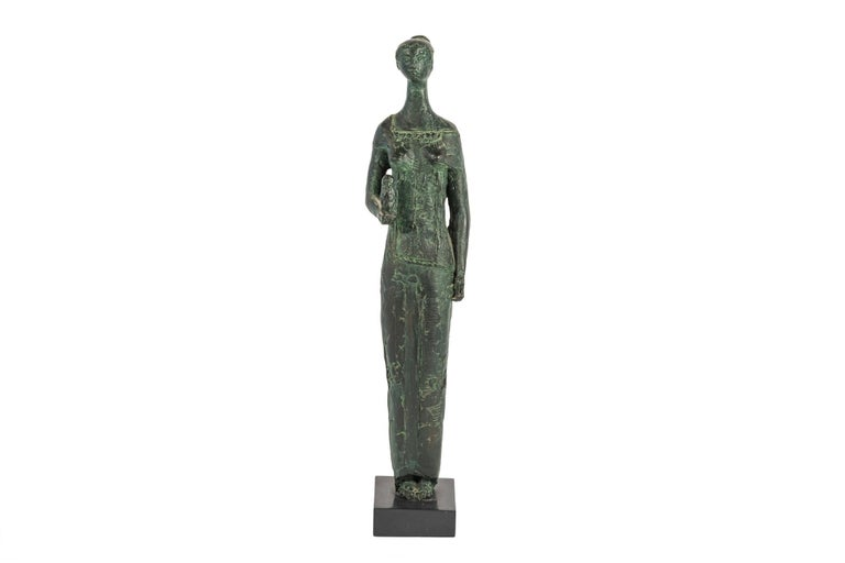 """Antoniucci Volti (1915-1989), Athena sculpture, Resin, antique green patina, Museum's proof, Stamped """"Fondation Musée Volti"""" and numbered 1/2 under the base, France, circa 1970.  Measures: Height 46 cm, width 7.5 cm, depth 7.5 cm."""